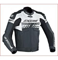 Blouson Cuir Racing Ixon Exocet Noir Blanc