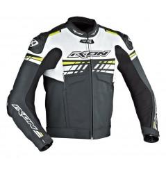 Blouson Cuir Racing Ixon Exocet Noir - Blanc - Jaune