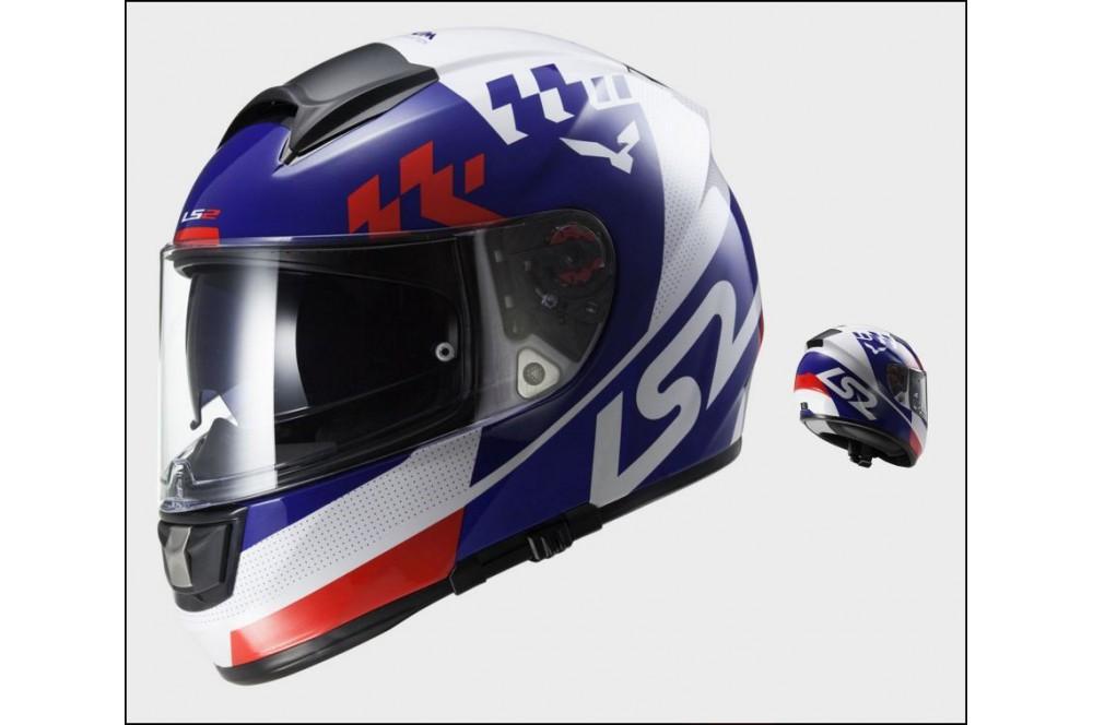 Casque Moto Ls2 Ff397 Vector Podium Bleu Blanc Rouge Street