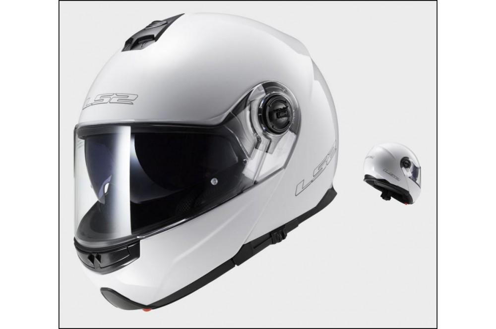 casque moto modulable ls2 ff325 strobe solid blanc street moto piece. Black Bedroom Furniture Sets. Home Design Ideas