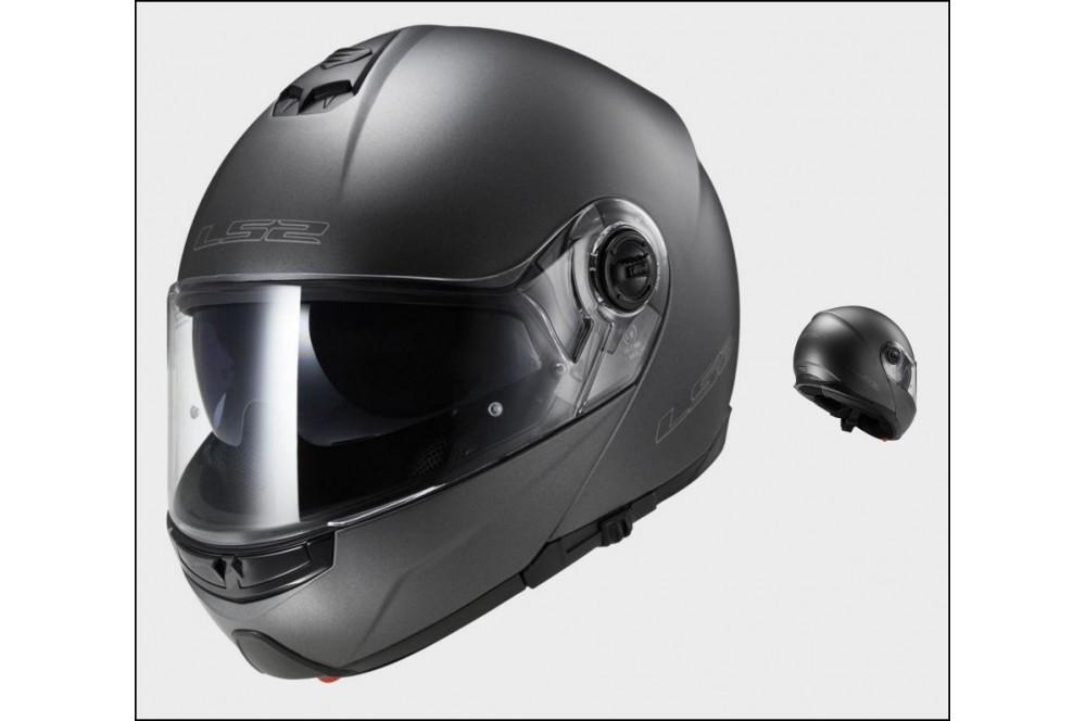 casque moto modulable ls2 ff325 strobe solid mat titanium street moto piece. Black Bedroom Furniture Sets. Home Design Ideas