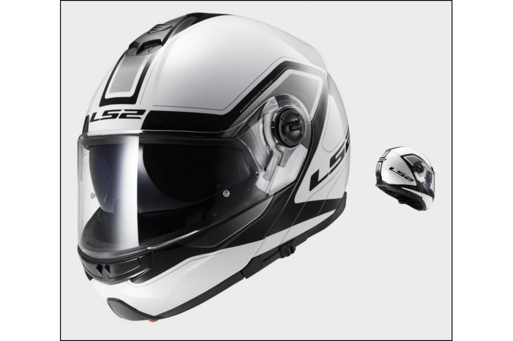 casque moto modulable ls2 ff325 strobe civik noir blanc street moto piece. Black Bedroom Furniture Sets. Home Design Ideas