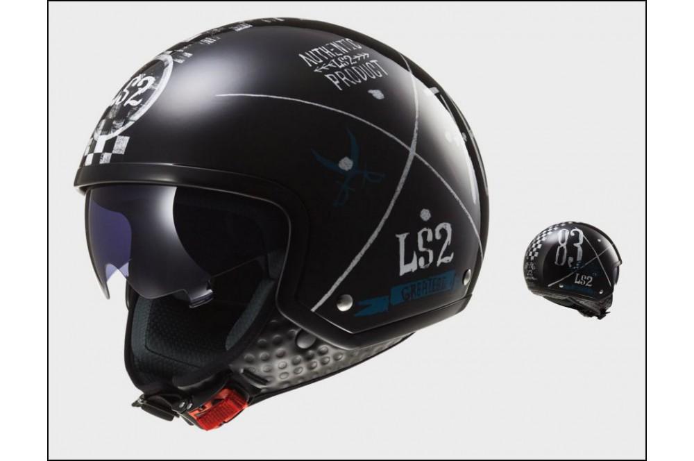 Casque Jet Moto Ls2 Of561 Wave Greatest Noir Street Moto Piece