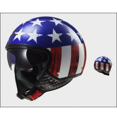 Casque Jet Moto LS2 OF561 WAVE RAW Bleu - Blanc - Rouge