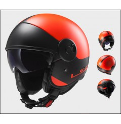 Casque Jet Moto LS2 OF597 CABRIO VIA Noir - Orange