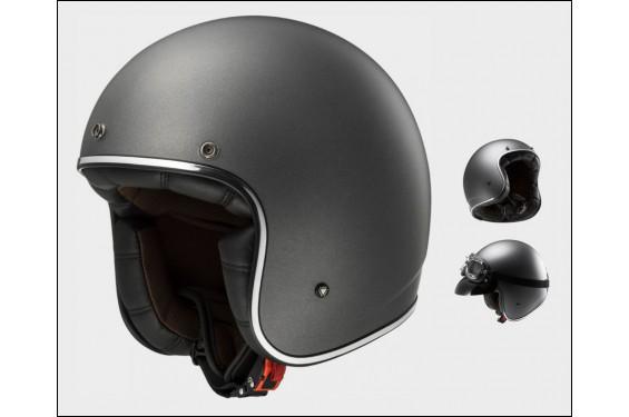 casque jet moto ls2 of583 bobber solid gris street moto piece. Black Bedroom Furniture Sets. Home Design Ideas