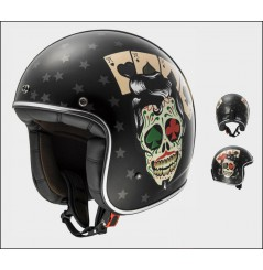 Casque Jet Moto LS2 OF583 BOBBER TATTOO Noir