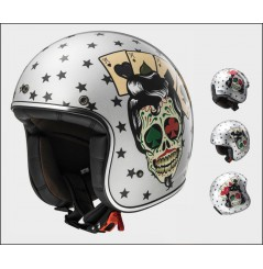 Casque Jet Moto LS2 OF583 BOBBER TATTOO Gris