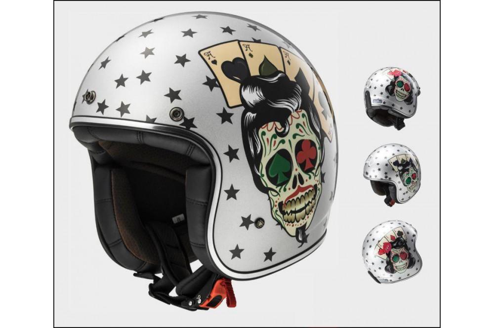 casque jet moto ls2 of583 bobber tattoo gris street moto piece. Black Bedroom Furniture Sets. Home Design Ideas