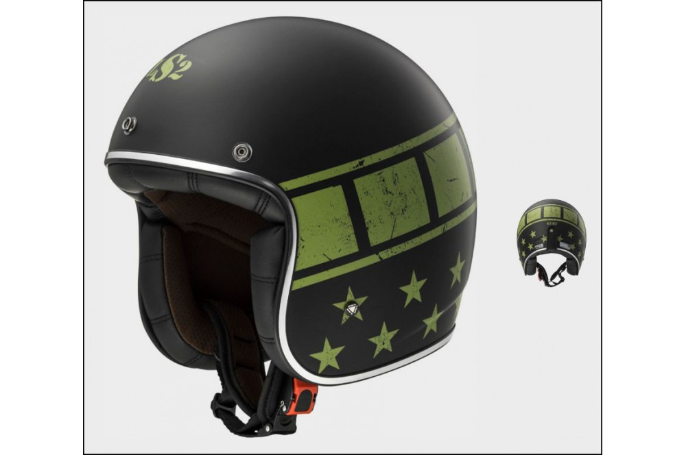 casque jet moto ls2 of583 bobber kurt noir vert street moto piece. Black Bedroom Furniture Sets. Home Design Ideas