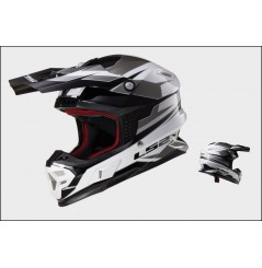 Casque Moto Cross LS2 MX456 LIGHT FACTORY Noir - Blanc Gris
