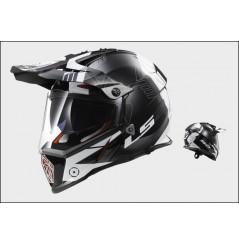 Casque Moto Cross LS2 MX436 PIONEER TRIGGER Noir - Blanc - Gris