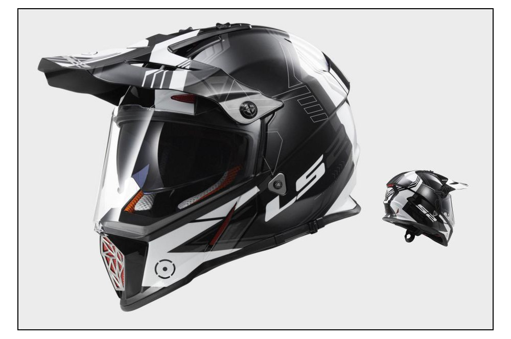 casque moto cross ls2 mx436 pioneer trigger noir blanc gris street moto piece. Black Bedroom Furniture Sets. Home Design Ideas