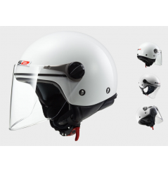 Casque Jet Moto LS2 OF575J WUBY SOLID Blanc