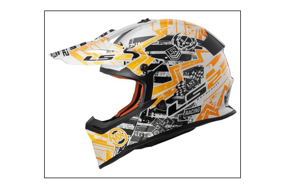 casque moto cross ls2 mx437j fast mini glitch noir blanc orange street moto piece. Black Bedroom Furniture Sets. Home Design Ideas