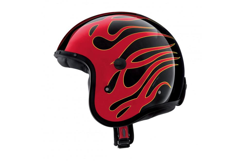 casque jet caberg freeride flame noir rouge street moto piece. Black Bedroom Furniture Sets. Home Design Ideas