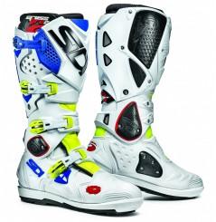 Botte Moto Cross SIDI CROSSFIRE 2 SRS Blanc - Bleu - Jaune