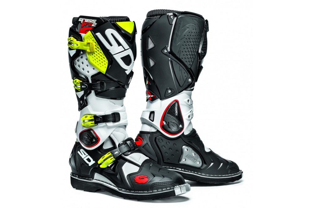 botte moto cross sidi crossfire 2 blanc noir jaune. Black Bedroom Furniture Sets. Home Design Ideas