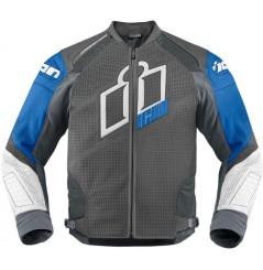 Blouson Cuir Moto Homme ICON Hypersport Prime Bleue