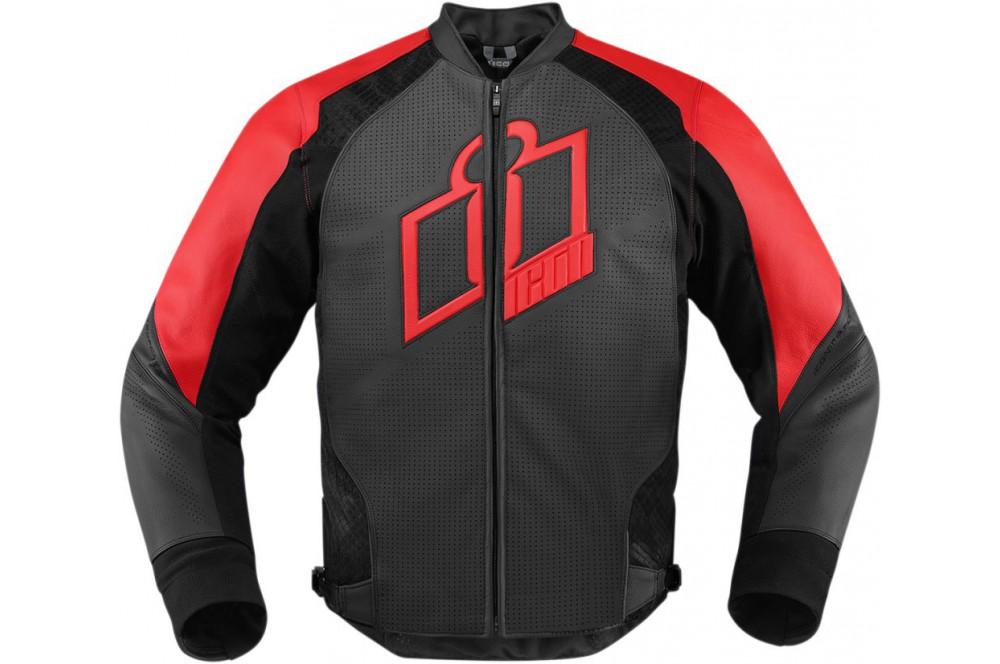 blouson cuir moto homme icon hypersport rouge street. Black Bedroom Furniture Sets. Home Design Ideas