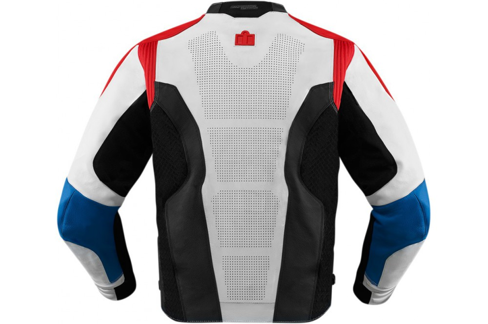 blouson cuir moto homme icon hypersport bleu blanc rouge street moto piece. Black Bedroom Furniture Sets. Home Design Ideas
