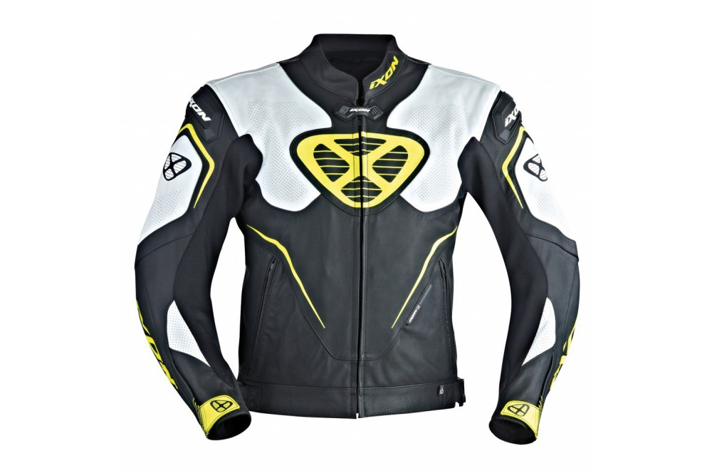 Blouson cuir moto jaune