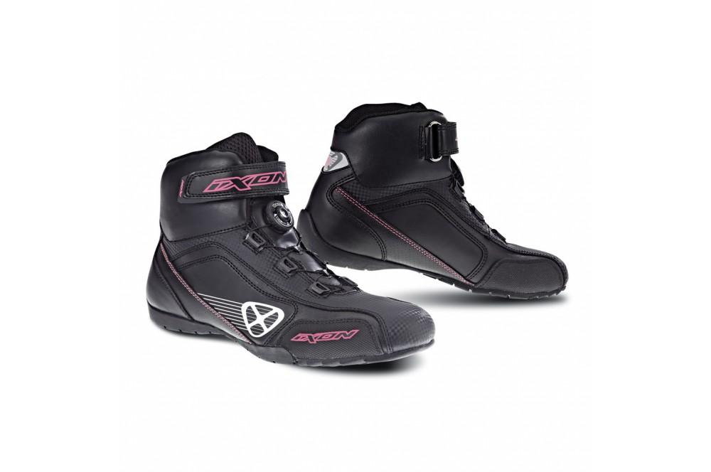 chaussure racing moto ixon assault lady noir blanc rose street moto piece. Black Bedroom Furniture Sets. Home Design Ideas