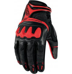 Gants Moto Street ICON Overlord Resistance Rouge
