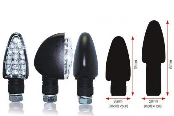 Clignotant LED Moto Homologué TRIANGLE Noir Court