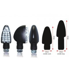 Clignotant LED Moto TRIANGLE Noir Long