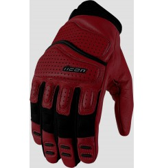 Gants Moto Street ICON Superduty 2 Cuir Rouge