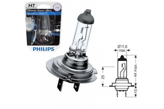ampoule h7 12v 55w philips blue vision pour moto quad. Black Bedroom Furniture Sets. Home Design Ideas