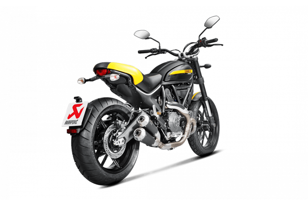 silencieux titane akrapovic pour ducati scrambler 15 18. Black Bedroom Furniture Sets. Home Design Ideas