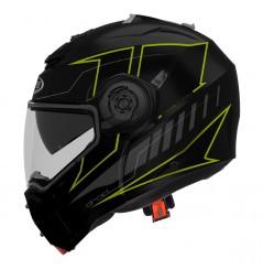 Casque Moto Modulable CABERG DROID Noir Mat - Jaune