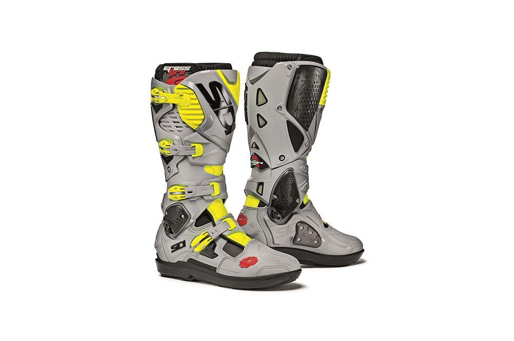 botte moto cross sidi crossfire 3 srs gris jaune street moto piece. Black Bedroom Furniture Sets. Home Design Ideas