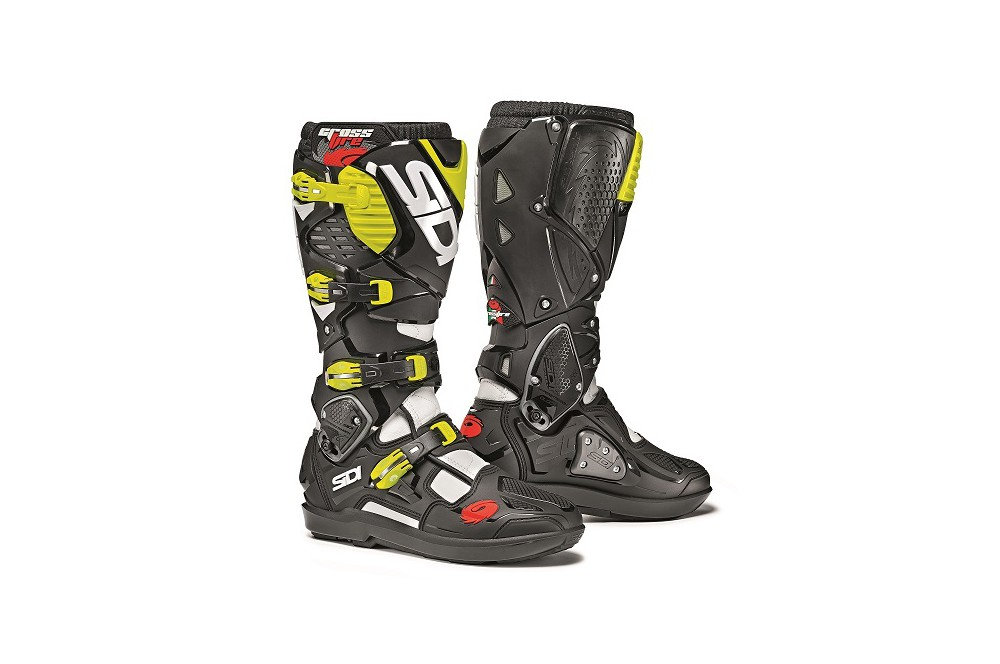 botte moto cross sidi crossfire 3 srs noir blanc jaune. Black Bedroom Furniture Sets. Home Design Ideas