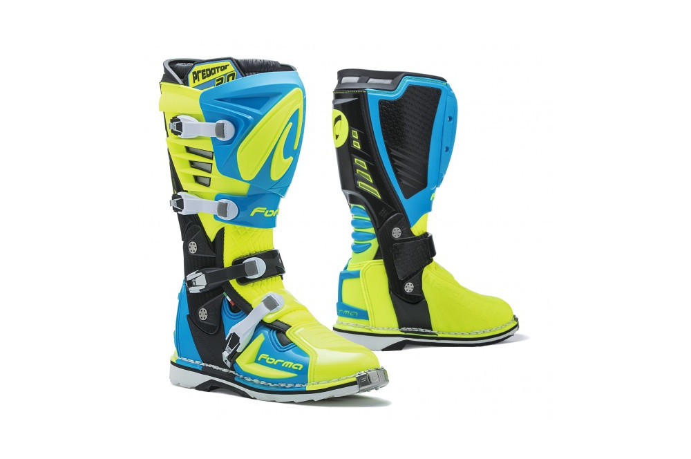 bottes moto cross forma predator 2 0 bleu jaune street moto piece. Black Bedroom Furniture Sets. Home Design Ideas