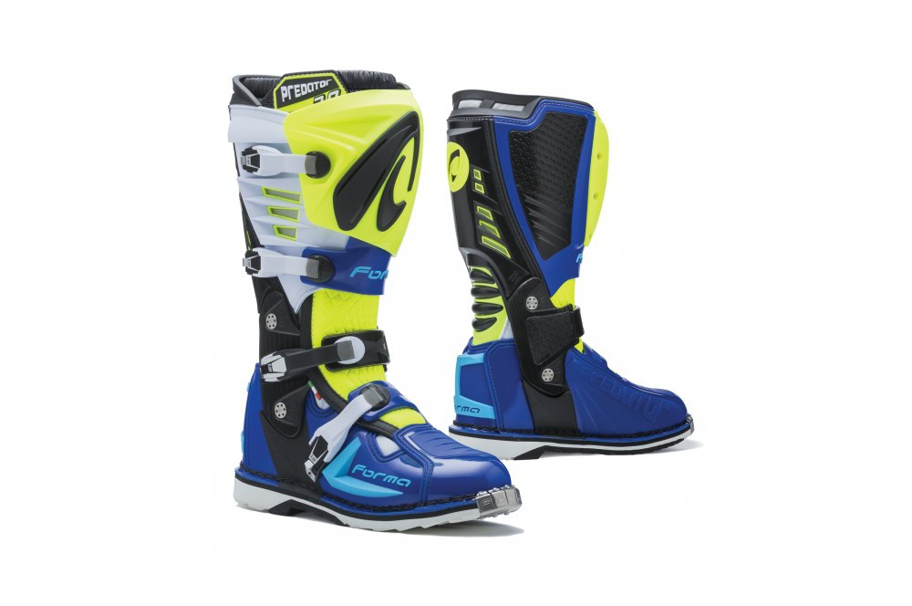 bottes moto cross forma predator 2 0 bleu blanc jaune street moto piece. Black Bedroom Furniture Sets. Home Design Ideas