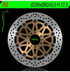 Disque de frein moto avant NG Brake pour Honda 1800 Goldwing (01-16)