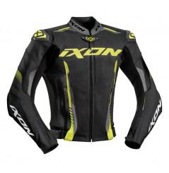 Blouson Cuir Moto Ixon VORTEX 2 Noir - Gris - Jaune