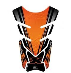 Protection de Réservoir Moto Universel Noir - Orange pour Kawasaki