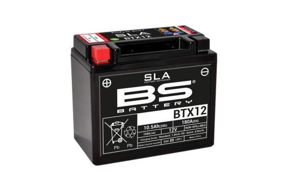 Batterie Moto BS BTX12-SLA  (YTX12-BS - CTX12-BS)