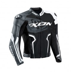Blouson Cuir Moto Ixon FALCON JACKET Noir - Blanc - Gris