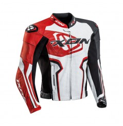 Blouson Cuir Moto Ixon FALCON JACKET Noir - Blanc - Rouge