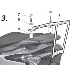 Support Top Case Shad Kymco Super Dink - Street 125 et 300 (09-16)