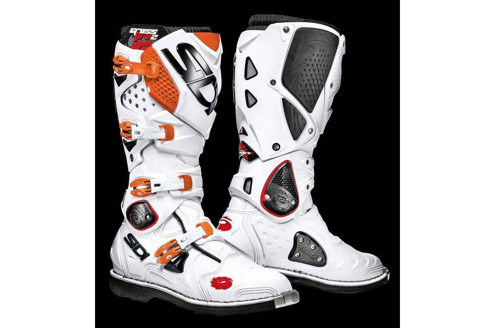 bottes moto cross sidi crossfire 2 blanc orange street moto piece. Black Bedroom Furniture Sets. Home Design Ideas