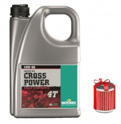 Huile Motorex Cross Power 4T 10W60 4 Litres + Filtre à Huile Offert