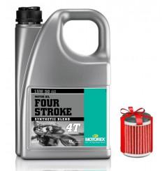 Huile Motorex Four Stroke 4T 15W50 Semi-Synthétique 4 Litres + Filtre à Huile Offert