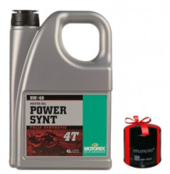 Huile Motorex Power Synt 4T 5W40 100% Synthèse 4 Litres + Filtre à Huile Offert