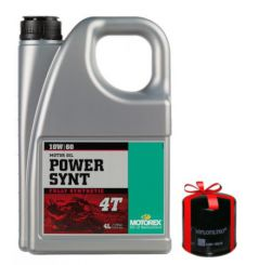 Huile Motorex Power Synt 4T 10W60 100% Synthèse 4 Litres + Filtre à Huile Offert